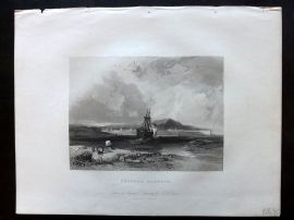 After Pyne 1834 Antique Print. Swansea Harbour, Wales